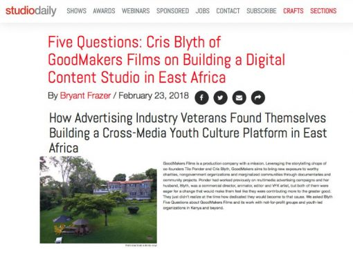 StudioDaily highlights GoodMakers Films