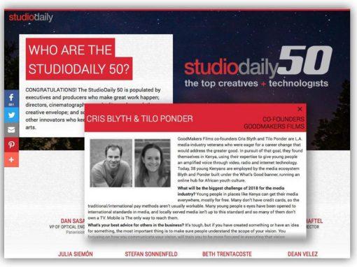 StudioDaily 50 award 2018 !